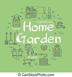 thuis, tuinieren, vector, groene, concept, lineair, landbouw