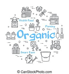 thuis, tuinieren, -, vector, organisch, concept, lineair, ...