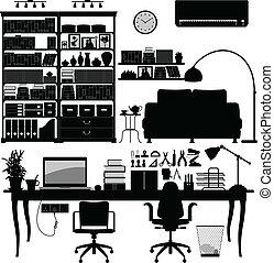 thuis, vector, kantoor, bibliotheek, soho