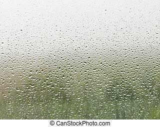 thuis, venster glaswaar, regendruppels