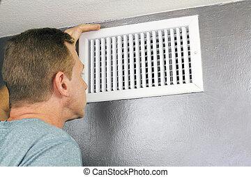 thuis, ventilatierooster, inspecteren, onderhoud, lucht