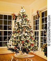 thuis, verfraaide, boompje, kerstmis