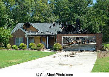 thuis, vuur, beschadigen