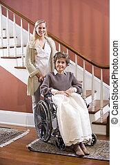 thuis, wheelchair, vrouw, senior, verpleegkundige