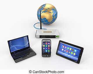 thuis, wifi, network., internet, via, router, op telefoon, draagbare computer, en, tablet, pc., 3d