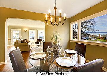 thuis, woonkamer, luxe, het dineren