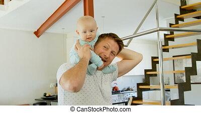 thuis, zijn, baby, vader, jongen, 4k, spelend