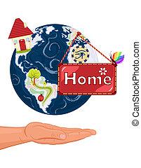 thuis, zoet, -, aarde