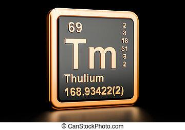 Thulium Tm chemical element. 3D rendering