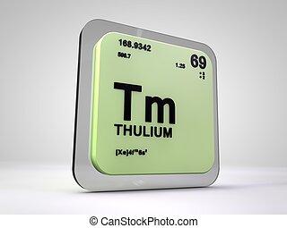 thulium - Tm - chemical element periodic table 3d render
