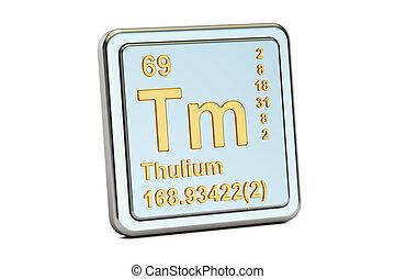 Thulium Tm, chemical element sign. 3D rendering