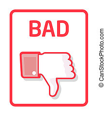 Thumb bad - Red thumb down label for bad work or bad quality