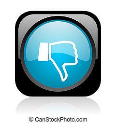 thumb down black and blue square web glossy icon