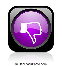 thumb down black and violet square web glossy icon