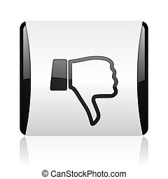 thumb down black and white square web glossy icon