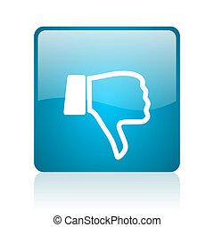 thumb down blue square web glossy icon