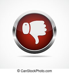 Thumb down button. Vector illustration