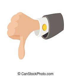 Thumb down gesture icon, cartoon style