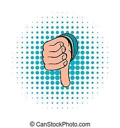 Thumb down gesture icon, comics style