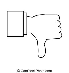Thumb down gesture icon, outline style