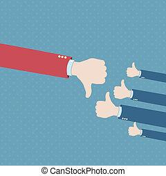 Thumb down hand win