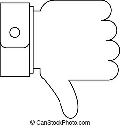 Thumb down icon, outline style.