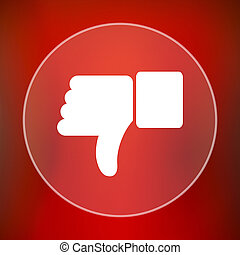 Thumb down icon. Internet button on red background.