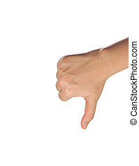 thumb down isolated with white back - thumb down
