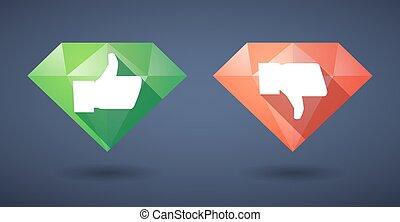 thumb hand Diamond icon set