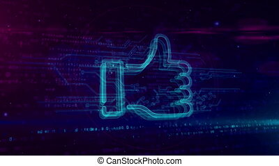 Thumb like symbol hologram loopable concept - Thumb up sign...