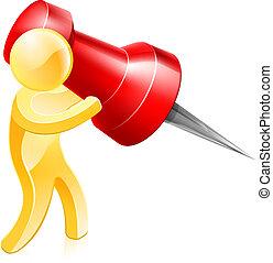 Thumb tack person - A person holding a huge thumb tack or...