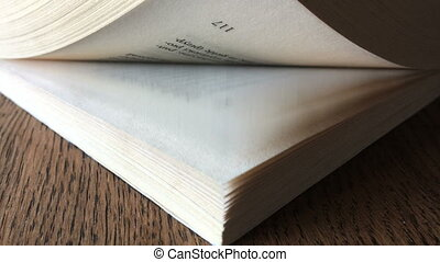 thumb through pages of the book. angle view. closeup