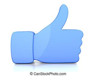 Thumb up - A symbolic thumb up. 3D illustration.