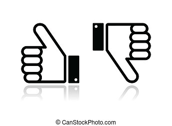Thumb up and down black icon - soci