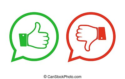 Thumb up and down icons. Vector illustration.