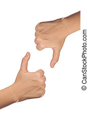 thumb up and down isolated with white background