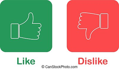 Thumb up and down red and green icons