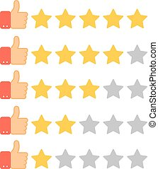 Thumb up and golden stars. Set of rating icons