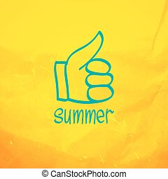Thumb up and like concept symbol