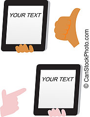 thumb up and tablet pc