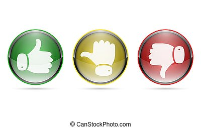 Thumb up and thumb down buttons. Vector illustration. I like...
