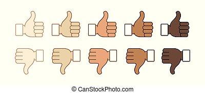 Thumb up and thumb down