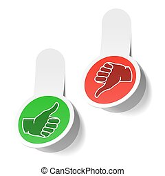 Thumb up and thumb down signs - Vector illustration of thumb...