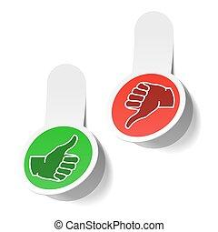 Thumb up and thumb down signs