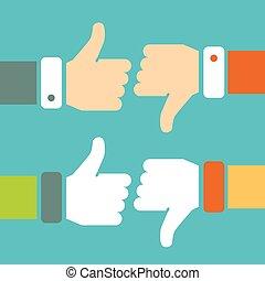 Thumb Up and Thumb Down Vector Signs