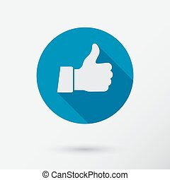 Thumb up applique. Icon. Flat style.
