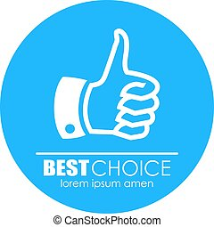 Thumb up best choice icon