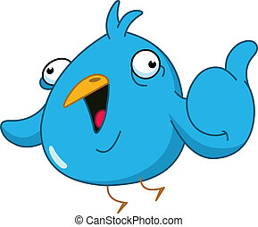 Thumb up bird - Funny blue bird showing thumb up