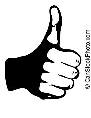Thumb up black and white illustration.