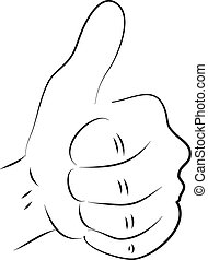 Thumb up black and white simple